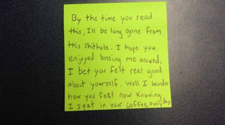 Interns farewell message for boss i spat on your coffee every day redit sticky notes neww thecheapjerseys Image collections