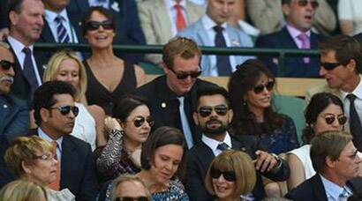 Sachin Tendulkar, Anjali, Virat Kohli and Anushka Sharma watch Wimbledon men's singles semis