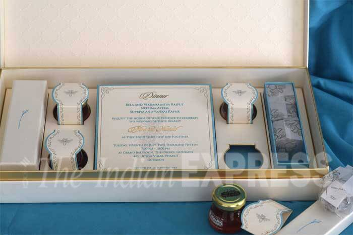 The card has four tiny bottles of honey with two rectangular boxes containing exotic tea bags. (Express Photo)