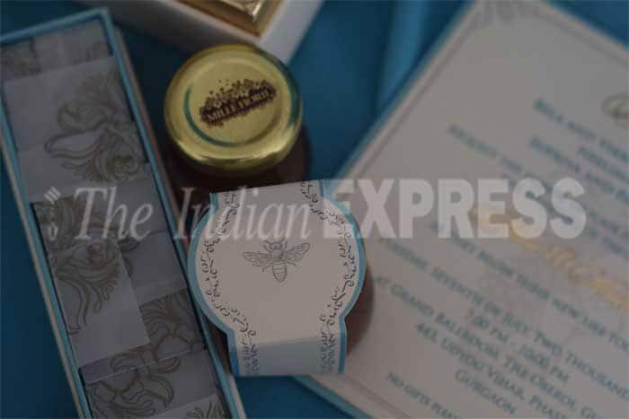 Shahid Kapoor's wedding card. (Express Photo)