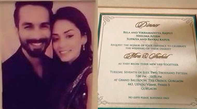 Shahid Kapoor Mira Rajputs wedding card revealed The Indian Express