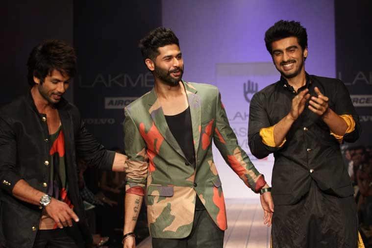 Shahid Kapoor walks the ramp with actor Arjun Kapoor for Kunal Rawal,