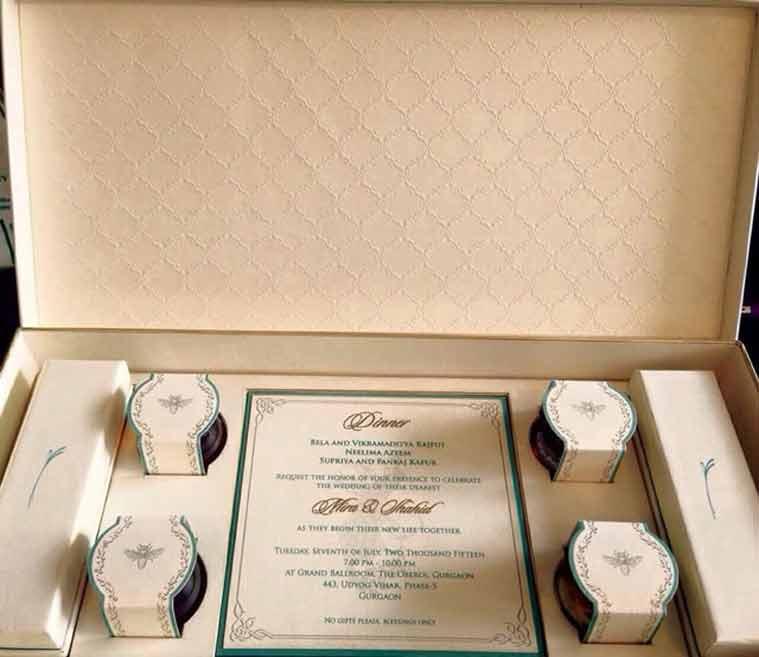 Shahid Kapoor Mira Rajput wedding, Shahid Kapoor wedding invitation