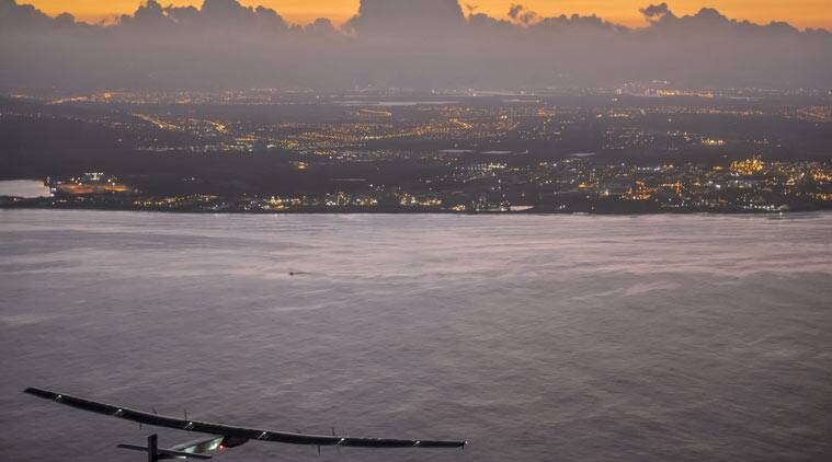 Hawaii, Solar Impulse, solar impulse 2, Japan, SOlar Plane, solar aeroplane, Solar Plane Hawaii, Solar Plane lands in Hawaii, Hawaii SOlar Plane, Solar Plane record, Hawaii news, japan news, world news, indian express