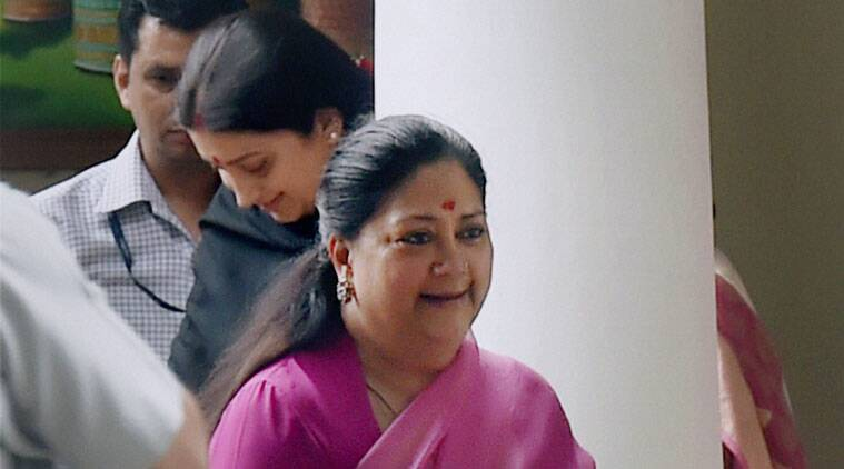 Rajasthan CM Vasundhara Raje and Union HRD Minister Smriti Irani leaves after meeting with Bharatiya Janata Party (BJP) President, Amit Shah in New Delhi on Sunday. (PTI Photo)
