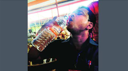 At Modi's Bihar rally, water bottle stickers printed inSurat