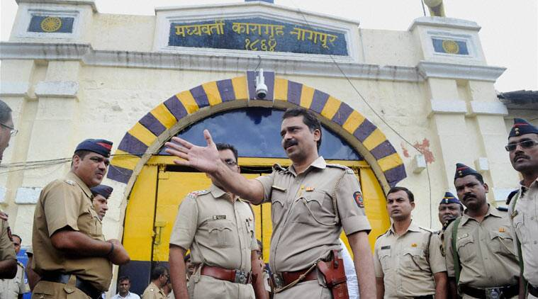 Nagpur: Tight police security outside Central Jail where 1993 Mumbai blasts convict Yakub Memon is lodged in Nagpur, Maharashtra on Monday. (Source: PTI)