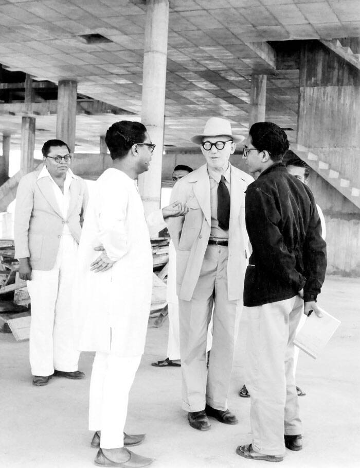 Corbusier and Doshi (right) in Ahmedabad