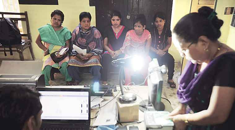 Pune stands third in the state in Aadhaar card coverage. (Express Photo)