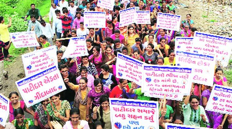 Patidars take out a rally in Savli town, around 30 kilometres from Vadodara, on Thursday. Around 5,000 people participated in the protest that ended with members submitting memorandum to deputy collector. Express