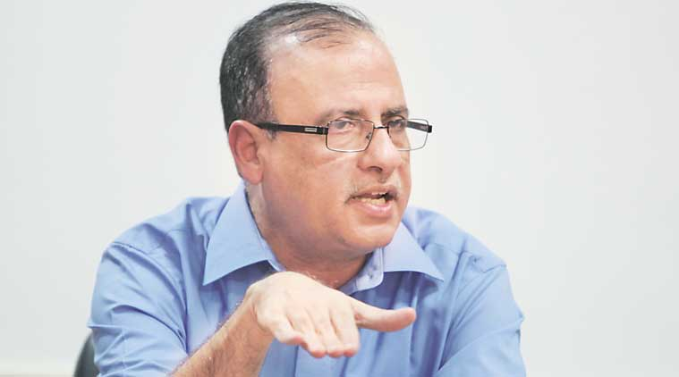 BMC Commissioner Ajoy Mehta at The Indian Express office in Mumbai on Thursday. (Source: Express Photo)