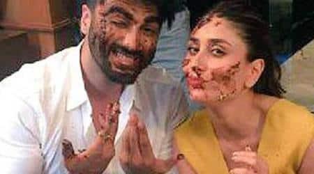 Kareena Kapoor, Arjun Kapoor, arjun kareena, Kareena Kapoor Arjun Kapoor cakesmash, Kareena Kapoor cake fight, Arjun Kapoor cake fight, Kareena Kapoor news, Arjun Kapoor news, Kareena Kapoor films, Arjun Kapoor films