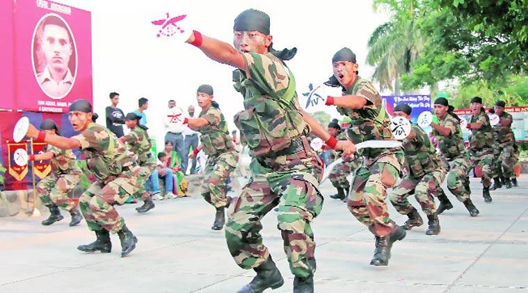 Army personnel at a demonstration during the golden jubilee celebrations of the 1965 Indo-Pak war, at Sukhna Lake on Wednesday. (Source: Photo by Jasbir Malhi)