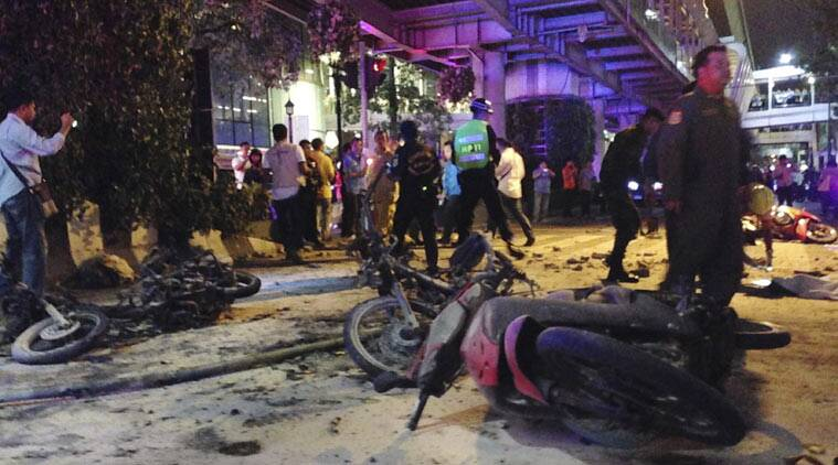 Motorcycles are strewn about after an explosion in Bangkok, Monday, Aug. 17, 2015. A large explosion rocked a central Bangkok intersection during the evening rush hour, killing a number of people and injuring others, police said. (Source: AP)
