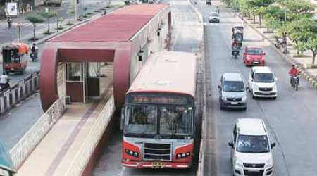 BRTS, pune, pune newsline, BRTS routes, pune ahmedabad corridor, pune police, nagar road, nagar road BRTS, BRT bus, PMPML, yerwada police station, indian express pune