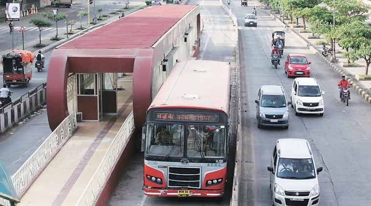 BRTS, BRTS trial, BRTS buses, BRTS bus launch, BRTS buses start, Pune news, Maharashtra News, Indian express