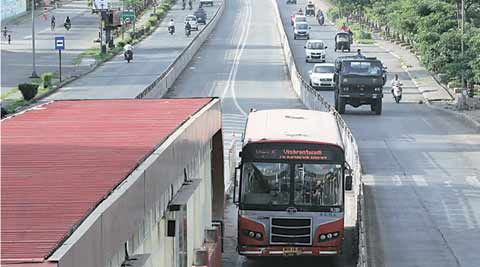 PMC, BRTS, nagar road, BRTS route, nagar route BRTS, nagar road overbridge, pune news, indian express pune