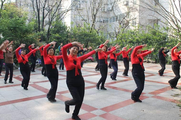 Women dance in the neighbourhood park, Nanjing