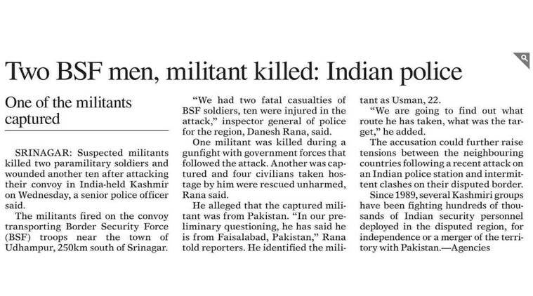 A screenshot of the news report on Pakistan daily Dawn.
