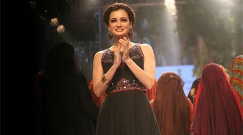 Dia Mirza, Lakme Fashion Week, Lakme Fashion Week winter festive 2015, Dia Mirza Photos, Dia Mirza ramp Photos, Dia Mirza Ramp Walk, Dia Mirza Lakme Ramp Photos, Dia Mirza Lakme Fashion Week, Dia Mirza LFW 2015, Entertainment news