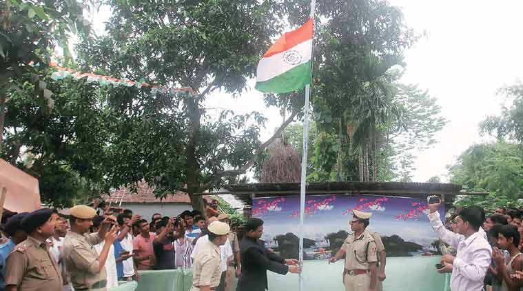 At the flag hoisting ceremony at Poatur Kuthi village, which was previously a Bangladeshi enclave in India. (Express Photo by Partha Paul)