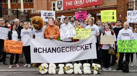 British lawmaker, spectators protest against 'Big Three' takeover outside The Oval