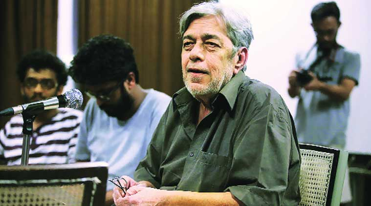 Film director and former FTII chairman Saeed Akhtar Mirza at the institute on Sunday. Pavan Khengre