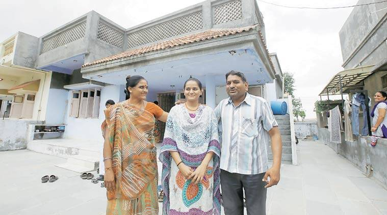 Hardik's parents and sister at their home in Viramgam. They moved here from the village for children's education. (Source: Express Photo by Javed Raja)