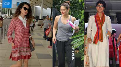 Kangana Ranaut is airport chic, Kareena Kapoor dresses down, Kiran goes traditional