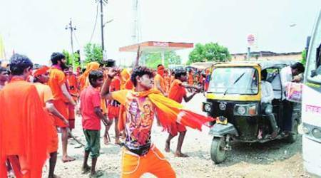 Not allowed to play music, kanwariyas go on rampage