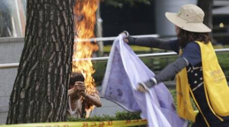 South Korean man sets himself on fire in anti-Japan rally, motives unknown