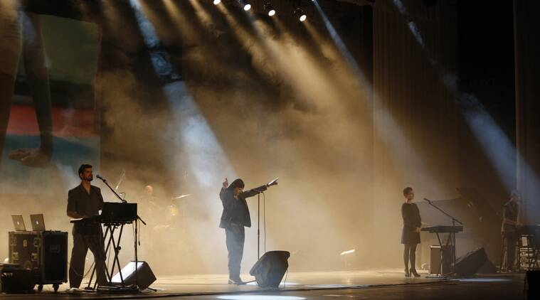 Members of Slovenian rock band Laibach perform in Pyongyang, North Korea, Wednesday, Aug. 19, 2015. It's rare for North Korea to allow modern music from abroad to be performed inside the country. (AP Photo/Dita Alangkara)