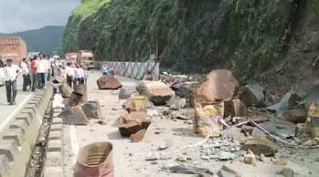 Hours after repair work gets over, another landslide hits expressway