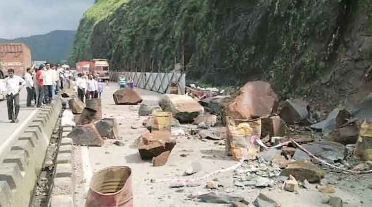 Flow of traffic towards Mumbai was disrupted Saturday.   (Express Photo)