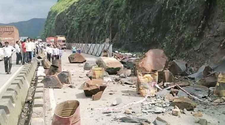 Flow of traffic towards Mumbai was disrupted Saturday.   (Express Photo)