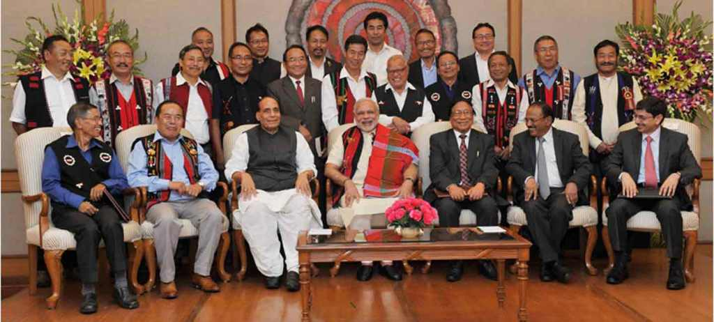 Prime Minister Narendra Modi with Union Home Minister Rajnath Singh, NSCN (IM) General Secretary, Thuingaleng Muivah, NSA, Ajit Doval and others at the signing ceremony of historic peace accord between Government of India & NSCN, in New Delhi on Monday. (Source; PTI)