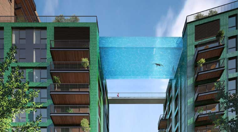 this sky swimming pool in london is all glass and between two buildings the indian express