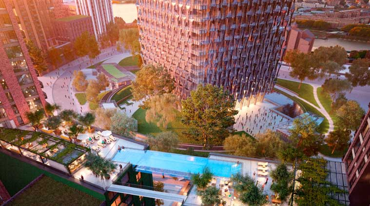 What the London Sky Swimming pool likes from above. (Source: Ballymore Group)
