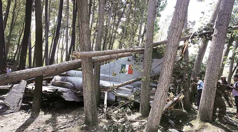 A Mig-21 aircraft that crashed in Soibugh area in Budgam,  15 km from Srinagar on Monday. The pilot ejected safely and the crash did not cause any casualty. (Source: Express photo)