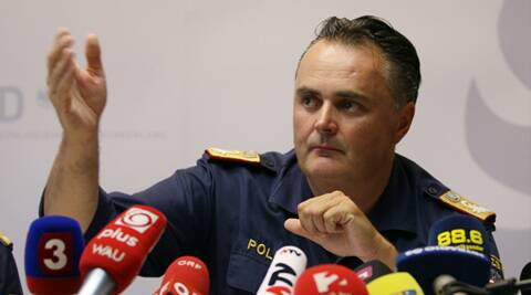 Chief of the Burgenland police, Hans Peter Doskozil, informs the media at a news conference at a police station in Eisenstadt, Austria, Thursday, Aug 27, 2015. Austrian police on Thursday discovered the badly decomposing bodies of at least 20 — and possibly up to 50 — migrants stacked in a truck parked on the shoulder of the main highway from Budapest to Vienna . (AP Photo/Ronald Zak)