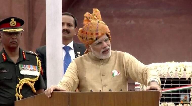 Prime Minister Narendra Modi addressing the nation from the Red Fort on the eve of Independence Day.