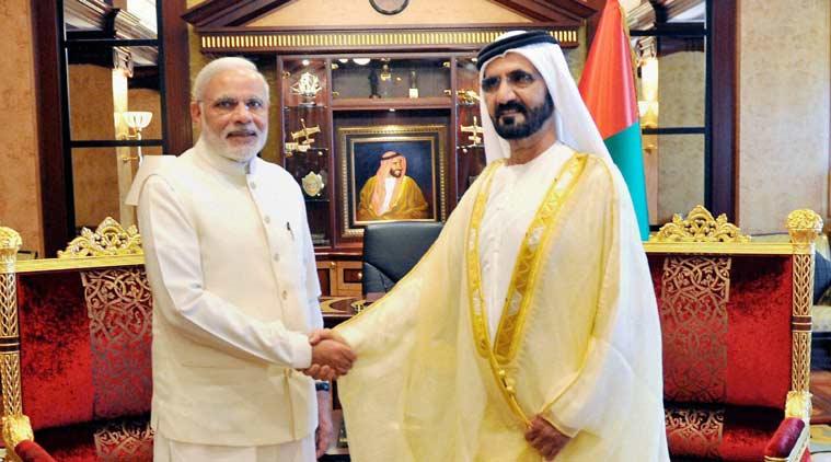 Prime Minister, Narendra Modi during a meeting with the Vice-President and Prime Minister of UAE, H H Mohammed bin Rashid Al Maktoum, at Za'abeel Palace, Dubai, on Monday. (Source: PTI Photo)