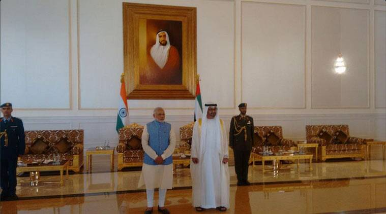 modi in uae, modi, pm modi in uae, Sheikh Zayed Grand mosque, modi uae, uae, narendra modi, pm modi, pm modi uae, uae modi, modi in uae, narendra modi uae, uae narendra modi, modi news, uae news, india news, indian express