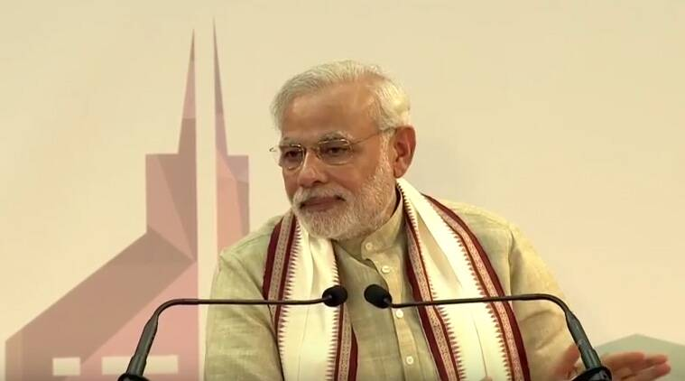 Prime Minister Narendra Modi at Dubai cricket stadium. (Source: PMO YouTube)