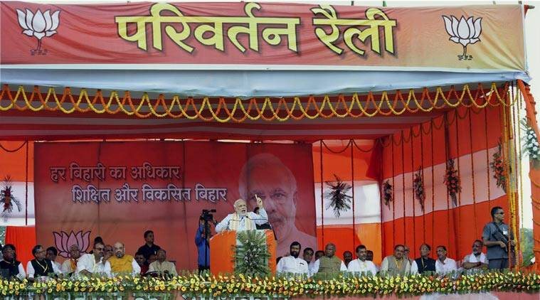 Minister Narendra Modi speaks during the Parivartan rally at Gandhi Maidan. (Source: PTI)