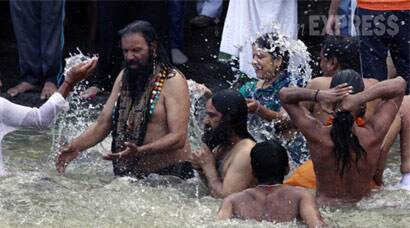 Chants of 'Jai Shree Ram' fill air as sadhus march for holy dip