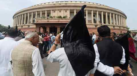 Congress MPs protest outside Parliament