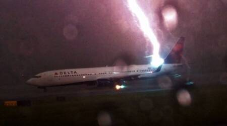 Incredible video shows powerful lightning striking Delta Airlines plane