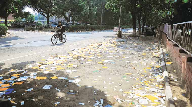 Election campaign material on roads in Chandigarh on Thursday. (Source: Express Photo by Sahil Walia)