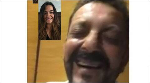 Sanjay Dutt smiles as he video chats with eldest daughter Trishala